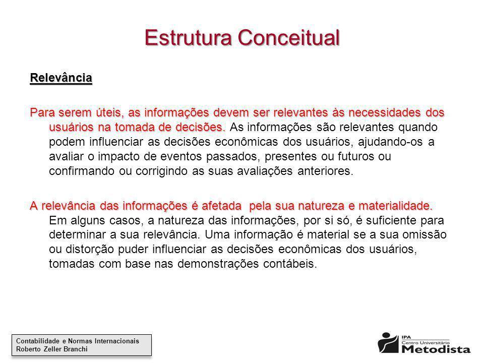 Contabilidade e Normas Internacionais Roberto Zeller Branchi Contabilidade e Normas Internacionais Roberto Zeller Branchi Estrutura Conceitual Relevân