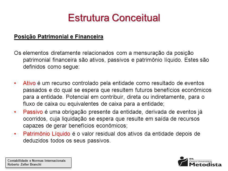 Contabilidade e Normas Internacionais Roberto Zeller Branchi Contabilidade e Normas Internacionais Roberto Zeller Branchi Estrutura Conceitual Posição
