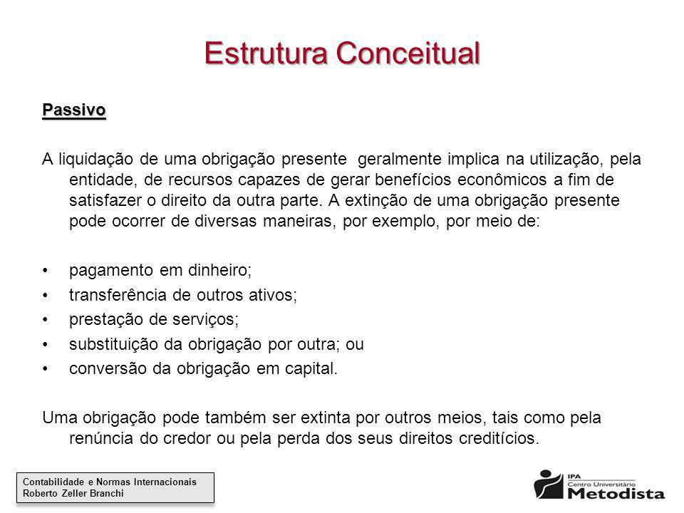 Contabilidade e Normas Internacionais Roberto Zeller Branchi Contabilidade e Normas Internacionais Roberto Zeller Branchi Estrutura Conceitual Passivo