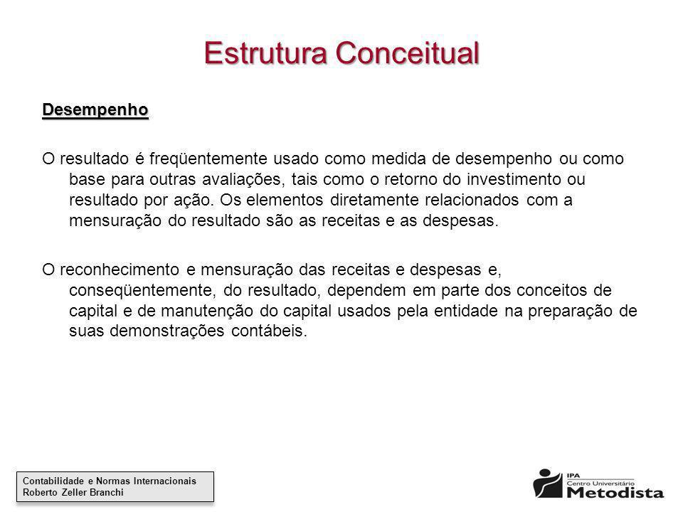 Contabilidade e Normas Internacionais Roberto Zeller Branchi Contabilidade e Normas Internacionais Roberto Zeller Branchi Estrutura Conceitual Desempe