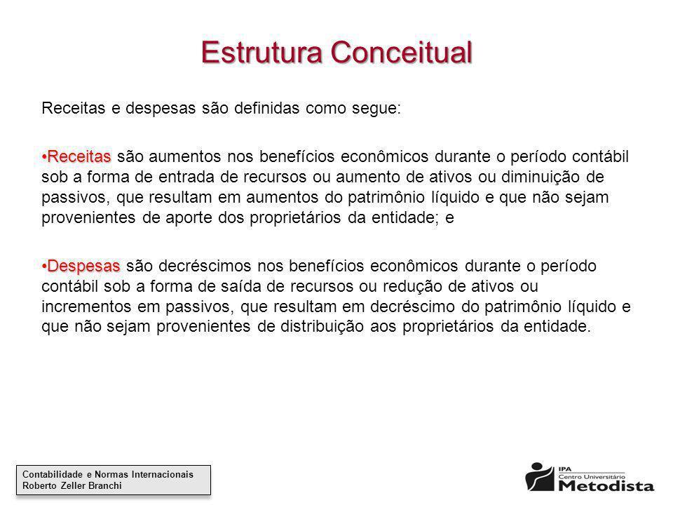 Contabilidade e Normas Internacionais Roberto Zeller Branchi Contabilidade e Normas Internacionais Roberto Zeller Branchi Estrutura Conceitual Receita