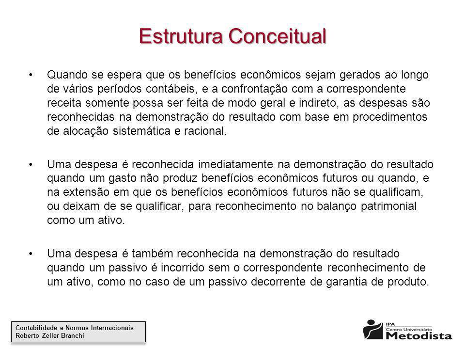 Contabilidade e Normas Internacionais Roberto Zeller Branchi Contabilidade e Normas Internacionais Roberto Zeller Branchi Estrutura Conceitual Quando