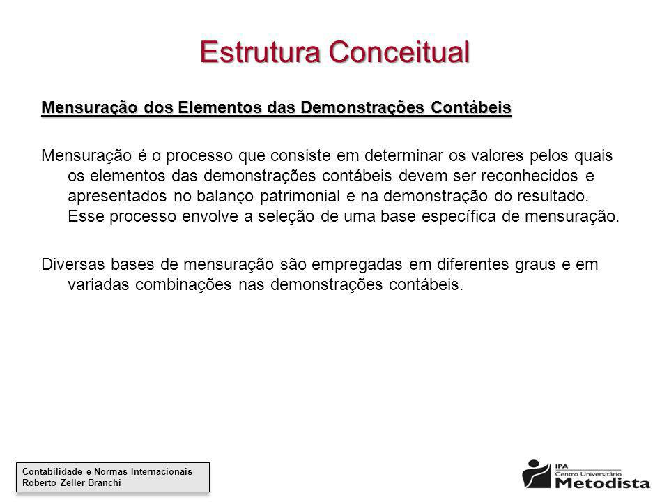 Contabilidade e Normas Internacionais Roberto Zeller Branchi Contabilidade e Normas Internacionais Roberto Zeller Branchi Estrutura Conceitual Mensura