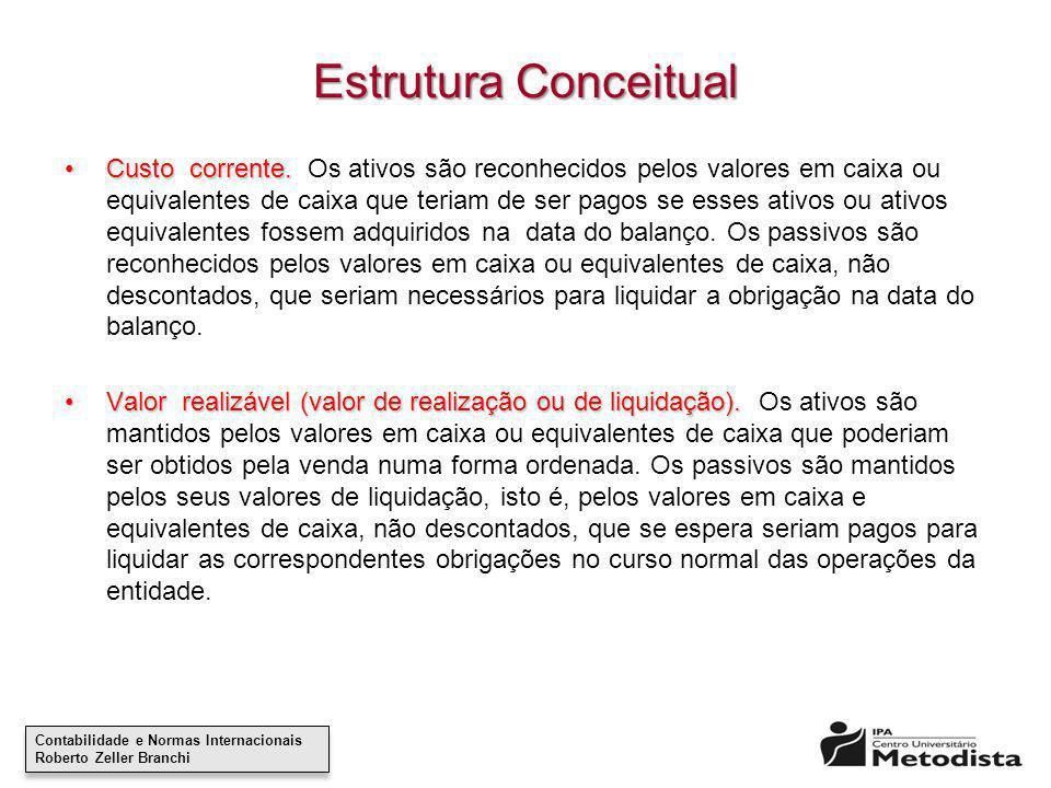 Contabilidade e Normas Internacionais Roberto Zeller Branchi Contabilidade e Normas Internacionais Roberto Zeller Branchi Estrutura Conceitual Custo c