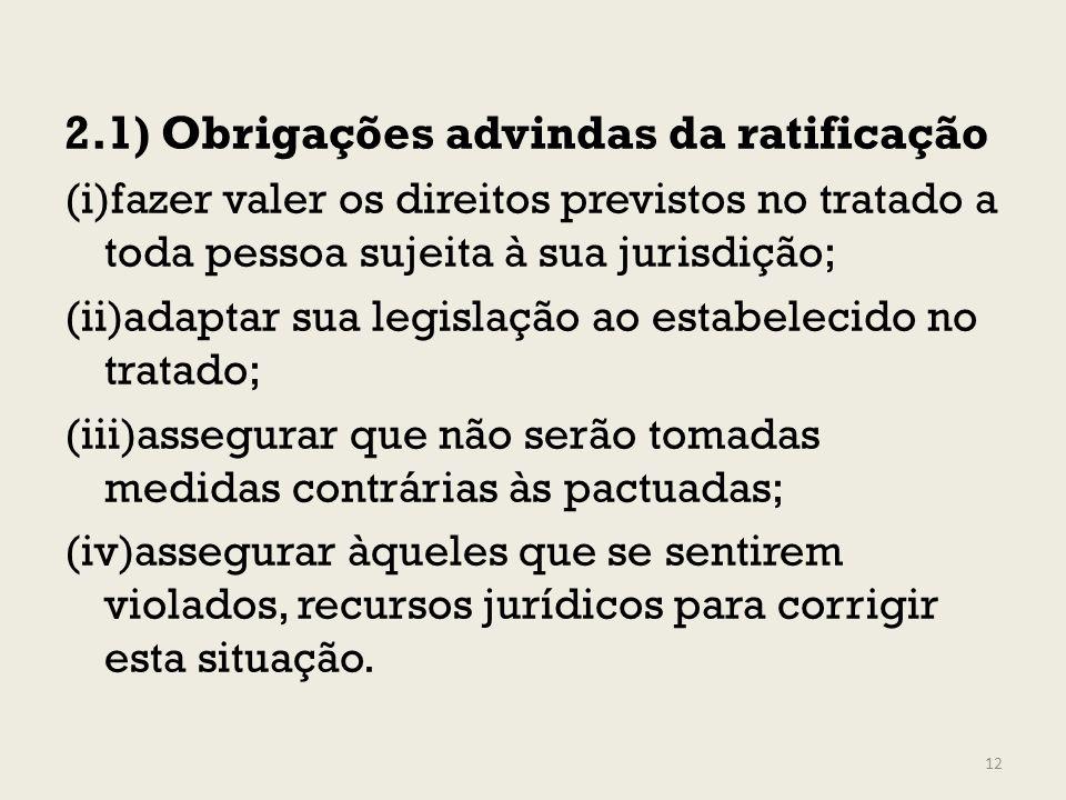 2.1) Obrigações advindas da ratificação (i)fazer valer os direitos previstos no tratado a toda pessoa sujeita à sua jurisdição; (ii)adaptar sua legisl