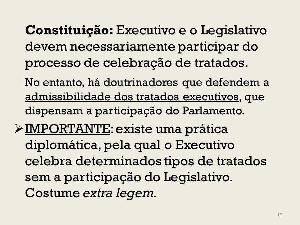 Constituição: Executivo e o Legislativo devem necessariamente participar do processo de celebração de tratados. No entanto, há doutrinadores que defen