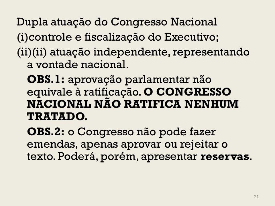 Dupla atuação do Congresso Nacional (i)controle e fiscalização do Executivo; (ii)(ii) atuação independente, representando a vontade nacional. OBS.1: a