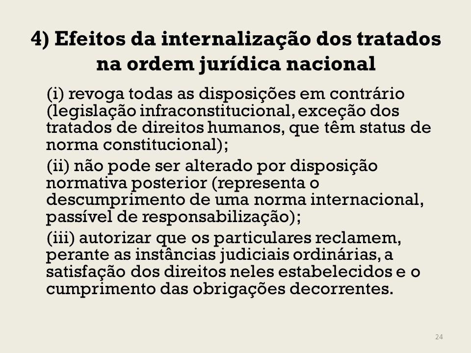 4) Efeitos da internalização dos tratados na ordem jurídica nacional (i) revoga todas as disposições em contrário (legislação infraconstitucional, exc