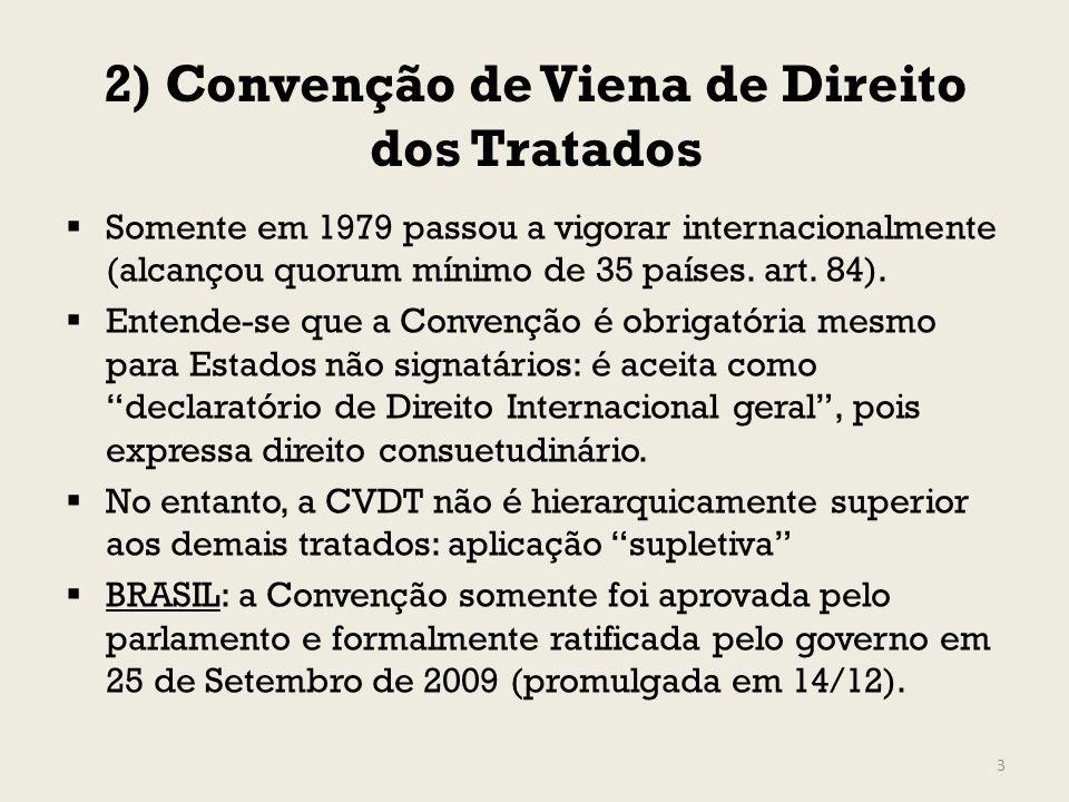 2) Convenção de Viena de Direito dos Tratados Somente em 1979 passou a vigorar internacionalmente (alcançou quorum mínimo de 35 países. art. 84). Ente