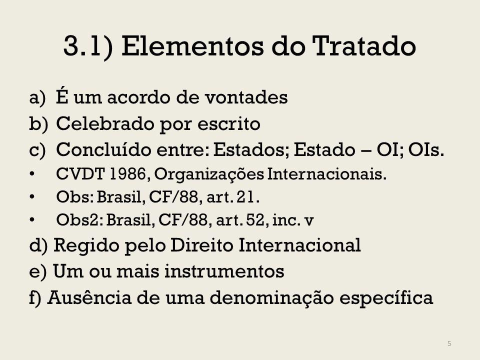 3.1) Elementos do Tratado a)É um acordo de vontades b)Celebrado por escrito c)Concluído entre: Estados; Estado – OI; OIs. CVDT 1986, Organizações Inte