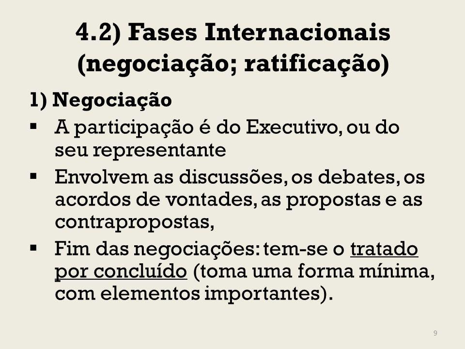 4.2) Fases Internacionais (negociação; ratificação) 1) Negociação A participação é do Executivo, ou do seu representante Envolvem as discussões, os de