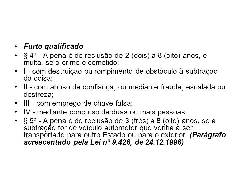 Furto qualificado § 4º - A pena é de reclusão de 2 (dois) a 8 (oito) anos, e multa, se o crime é cometido: I - com destruição ou rompimento de obstácu