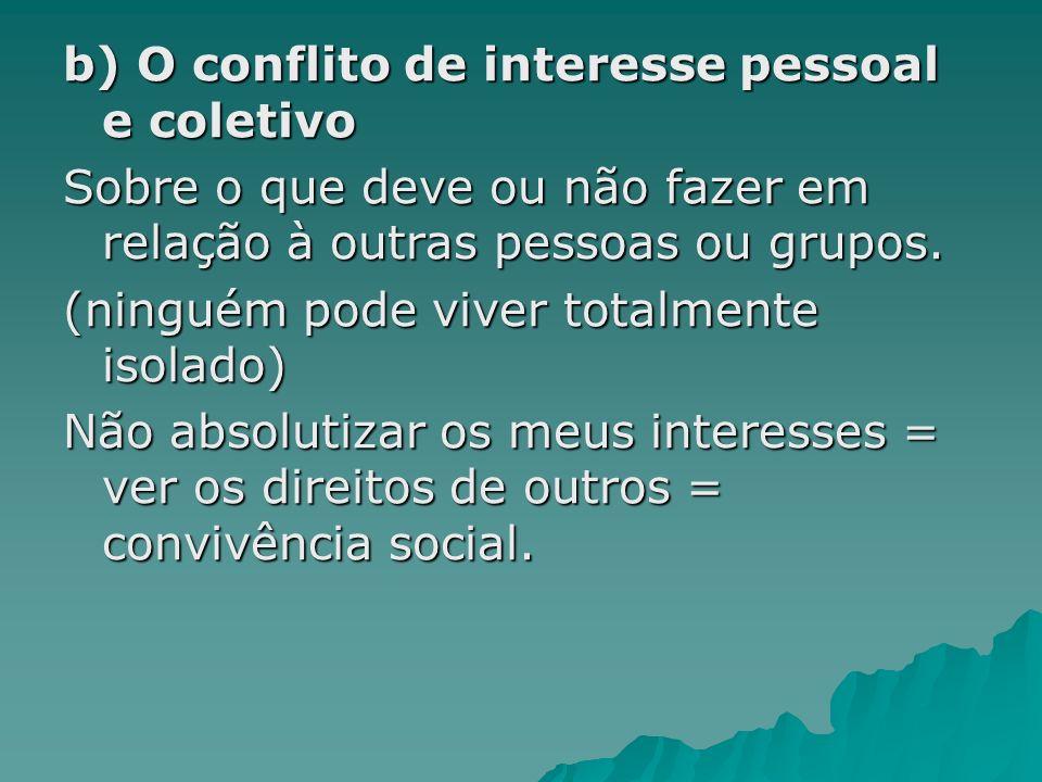 b) O conflito de interesse pessoal e coletivo Sobre o que deve ou não fazer em relação à outras pessoas ou grupos. (ninguém pode viver totalmente isol