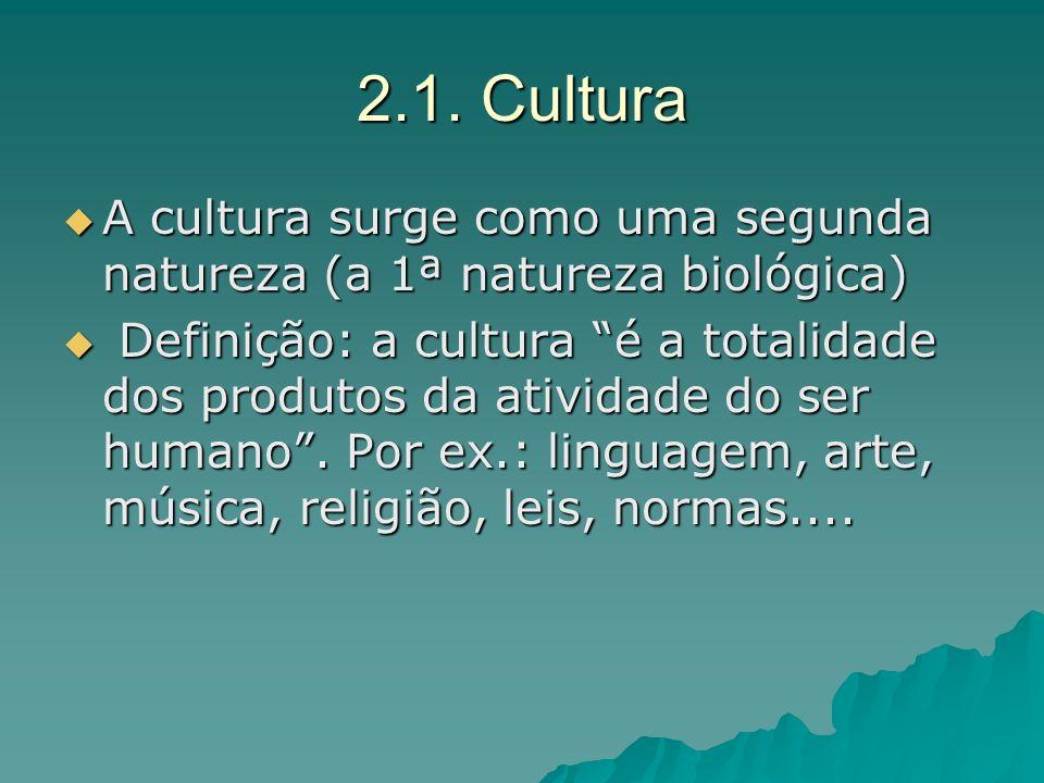 2.1. Cultura A cultura surge como uma segunda natureza (a 1ª natureza biológica) A cultura surge como uma segunda natureza (a 1ª natureza biológica) D