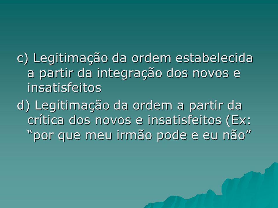 c) Legitimação da ordem estabelecida a partir da integração dos novos e insatisfeitos d) Legitimação da ordem a partir da crítica dos novos e insatisf