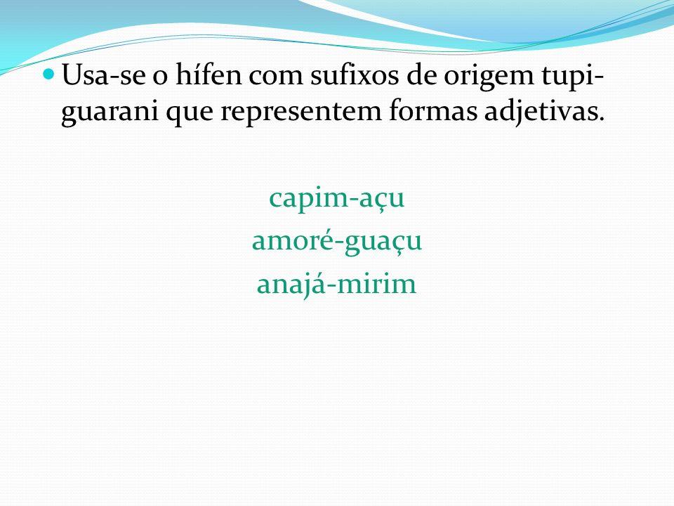 Usa-se o hífen com sufixos de origem tupi- guarani que representem formas adjetivas. capim-açu amoré-guaçu anajá-mirim
