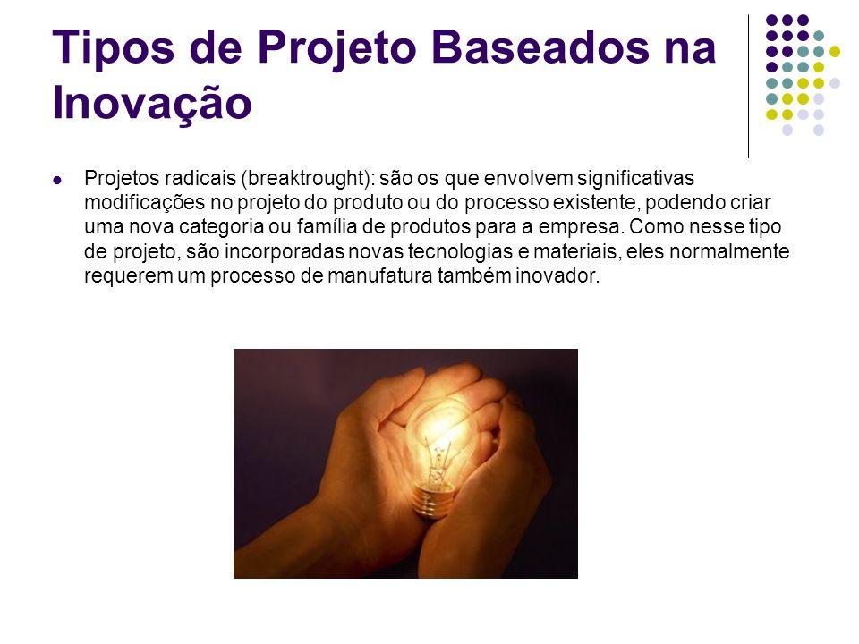 Tipos de Projeto Baseados na Inovação Projetos radicais (breaktrought): são os que envolvem significativas modificações no projeto do produto ou do pr