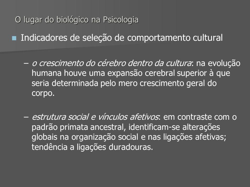 O lugar do biológico na Psicologia Indicadores de seleção de comportamento cultural – –o crescimento do cérebro dentro da cultura: na evolução humana