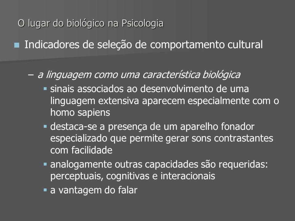 O lugar do biológico na Psicologia Indicadores de seleção de comportamento cultural – –a linguagem como uma característica biológica sinais associados