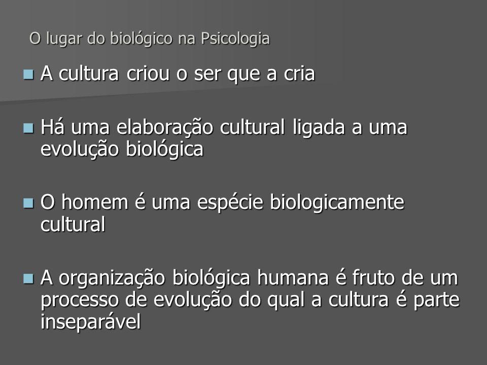 O lugar do biológico na Psicologia A cultura criou o ser que a cria A cultura criou o ser que a cria Há uma elaboração cultural ligada a uma evolução