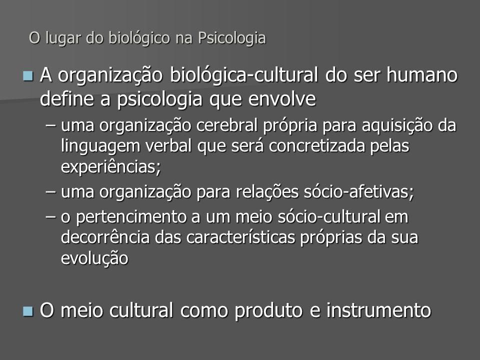 O lugar do biológico na Psicologia A organização biológica-cultural do ser humano define a psicologia que envolve A organização biológica-cultural do