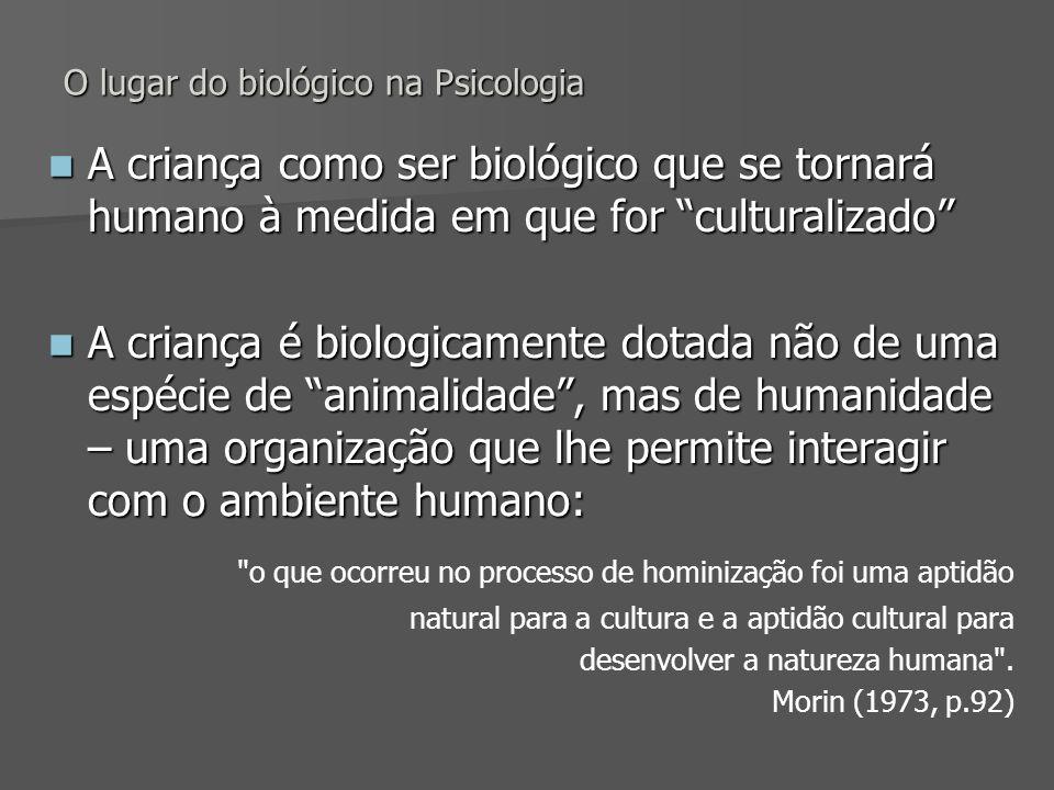 O lugar do biológico na Psicologia A criança como ser biológico que se tornará humano à medida em que for culturalizado A criança como ser biológico q