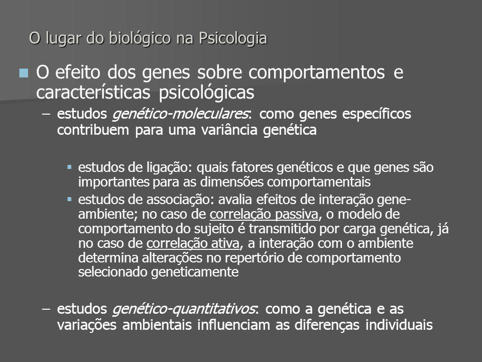 O lugar do biológico na Psicologia O efeito dos genes sobre comportamentos e características psicológicas – –estudos genético-moleculares: como genes