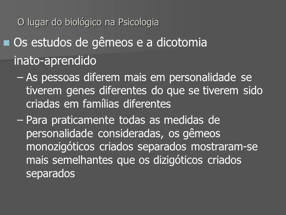 O lugar do biológico na Psicologia Os estudos de gêmeos e a dicotomia inato-aprendido – –As pessoas diferem mais em personalidade se tiverem genes dif