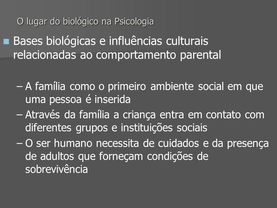 O lugar do biológico na Psicologia Bases biológicas e influências culturais relacionadas ao comportamento parental – –A família como o primeiro ambien