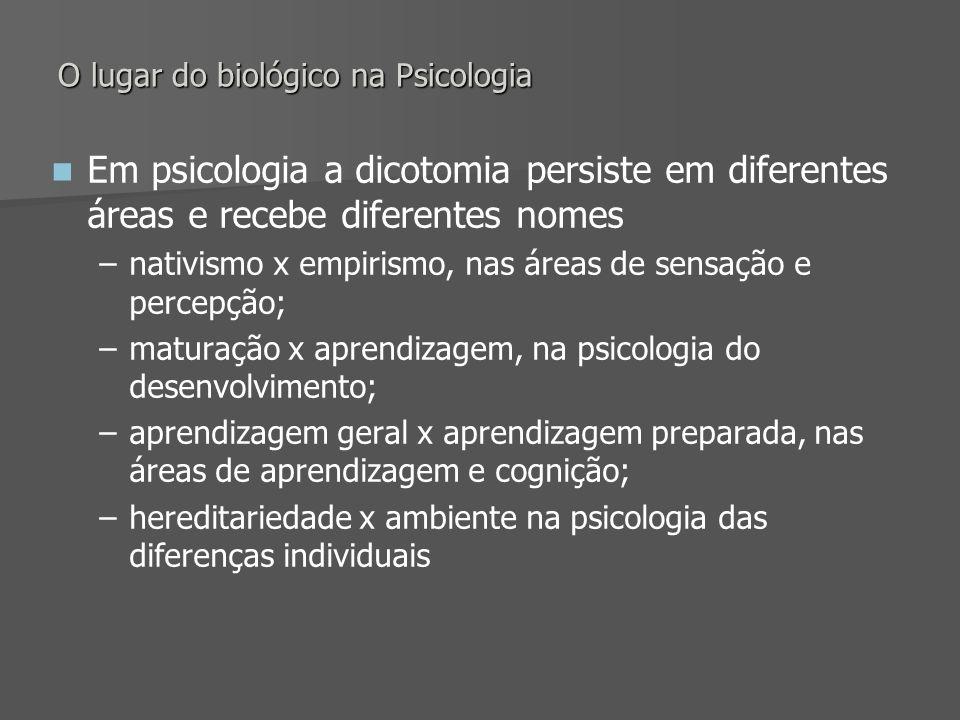 O lugar do biológico na Psicologia Em psicologia a dicotomia persiste em diferentes áreas e recebe diferentes nomes – –nativismo x empirismo, nas área