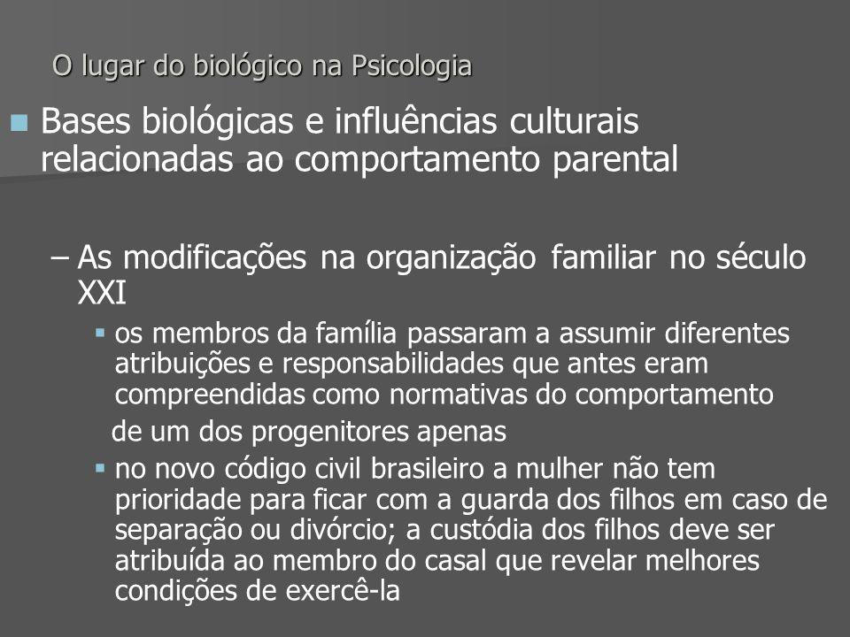 O lugar do biológico na Psicologia Bases biológicas e influências culturais relacionadas ao comportamento parental – –As modificações na organização f
