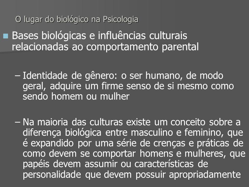 O lugar do biológico na Psicologia Bases biológicas e influências culturais relacionadas ao comportamento parental – –Identidade de gênero: o ser huma