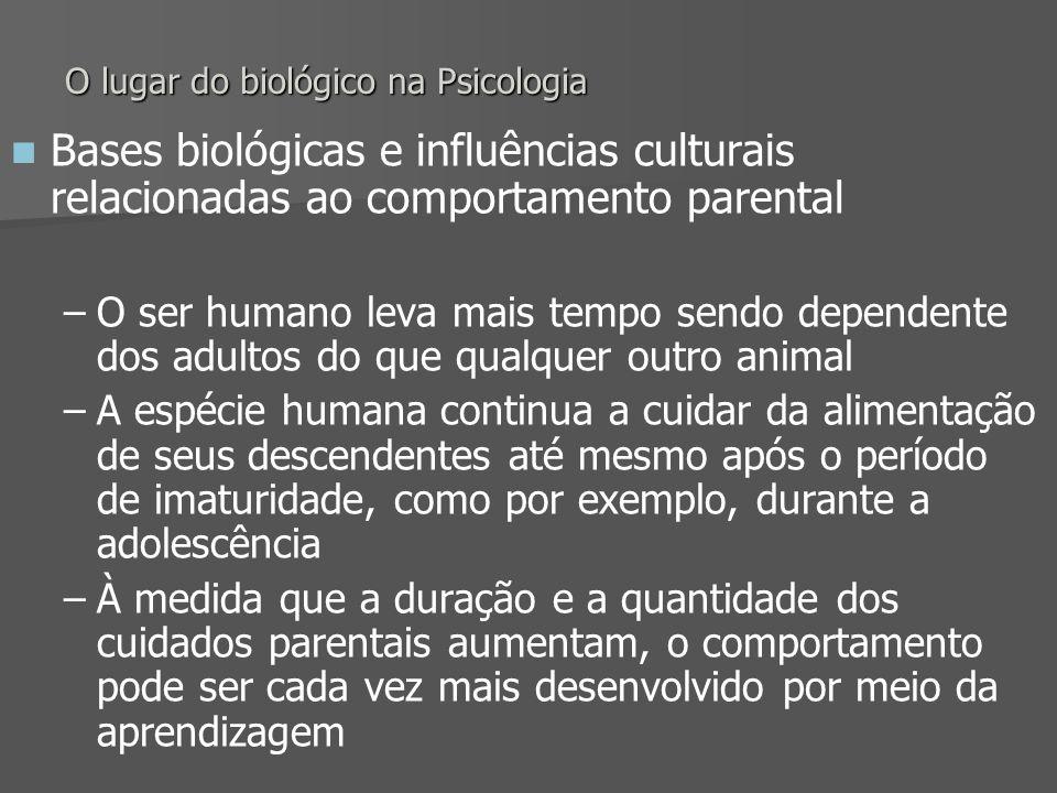 O lugar do biológico na Psicologia Bases biológicas e influências culturais relacionadas ao comportamento parental – –O ser humano leva mais tempo sen