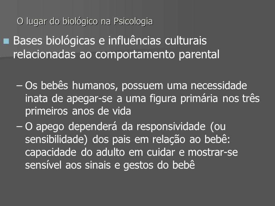 O lugar do biológico na Psicologia Bases biológicas e influências culturais relacionadas ao comportamento parental – –Os bebês humanos, possuem uma ne