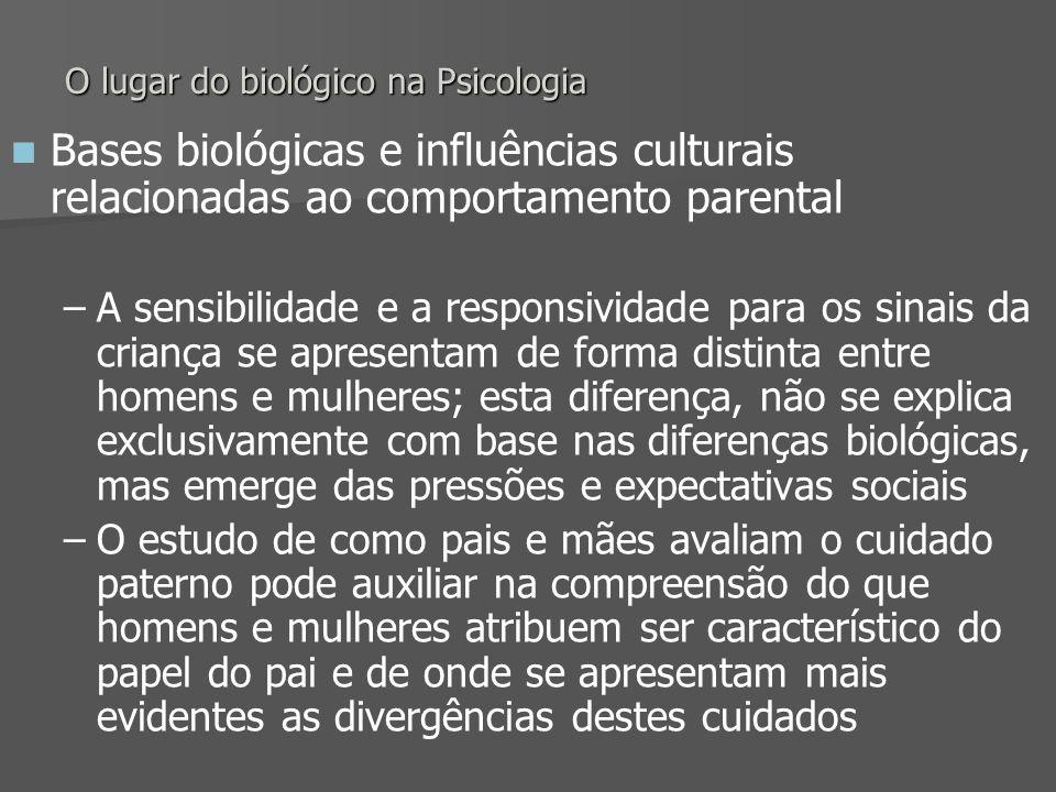 O lugar do biológico na Psicologia Bases biológicas e influências culturais relacionadas ao comportamento parental – –A sensibilidade e a responsivida