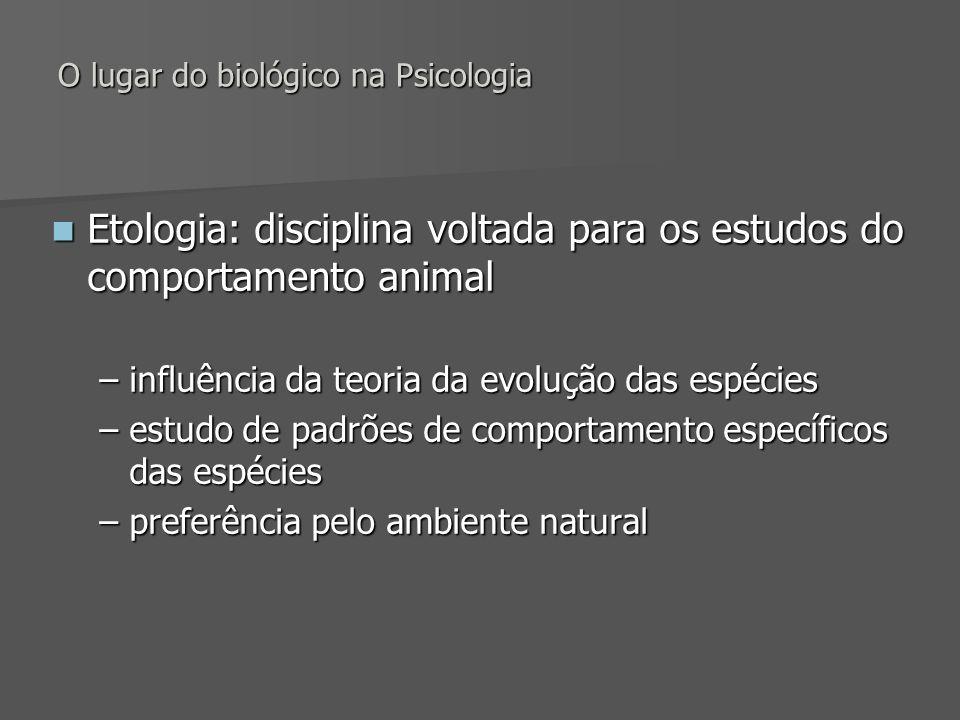 O lugar do biológico na Psicologia Etologia: disciplina voltada para os estudos do comportamento animal Etologia: disciplina voltada para os estudos d
