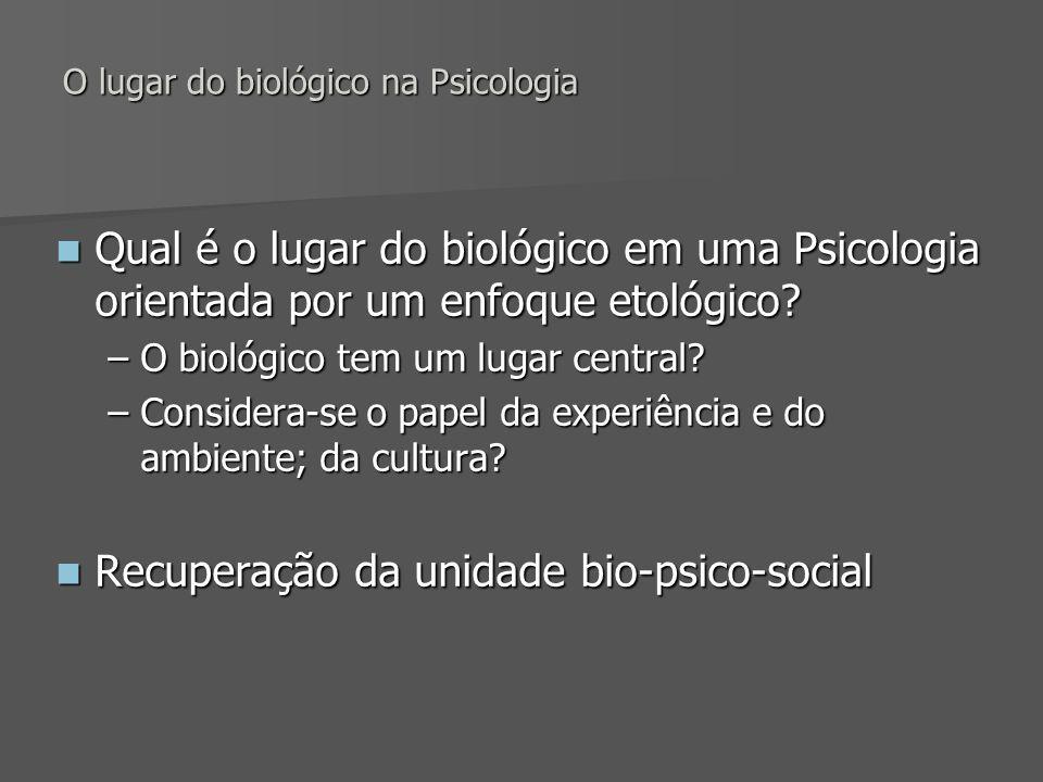 O lugar do biológico na Psicologia Qual é o lugar do biológico em uma Psicologia orientada por um enfoque etológico? Qual é o lugar do biológico em um