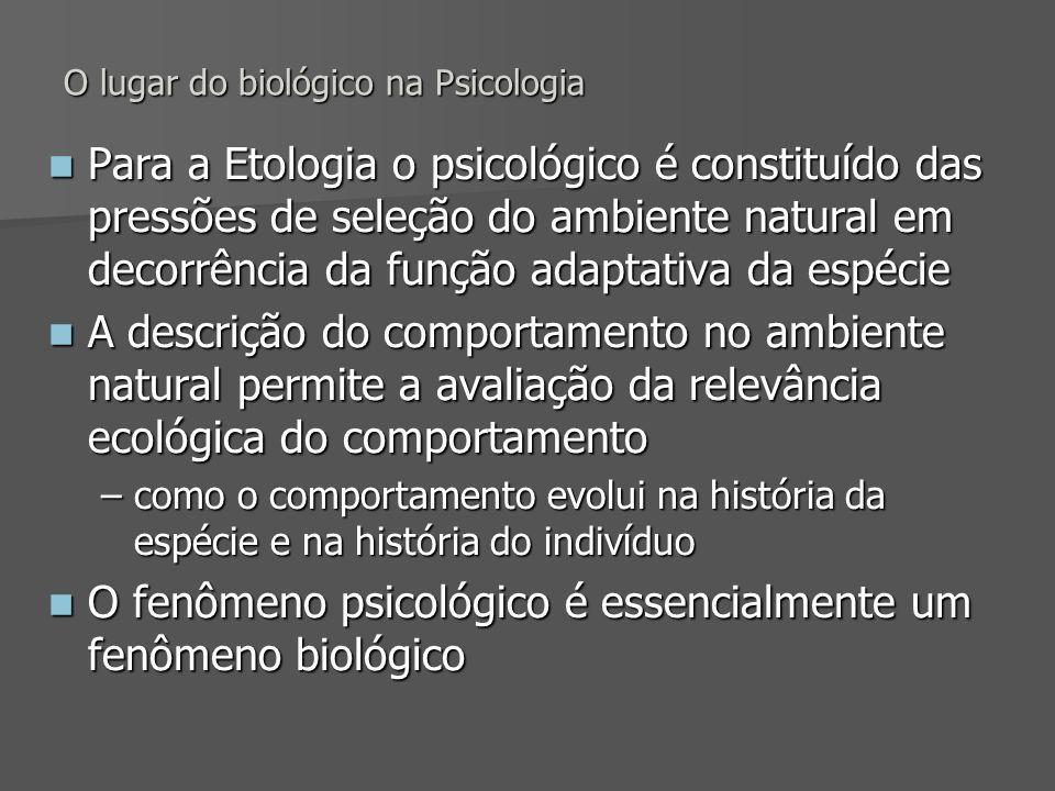 O lugar do biológico na Psicologia Para a Etologia o psicológico é constituído das pressões de seleção do ambiente natural em decorrência da função ad