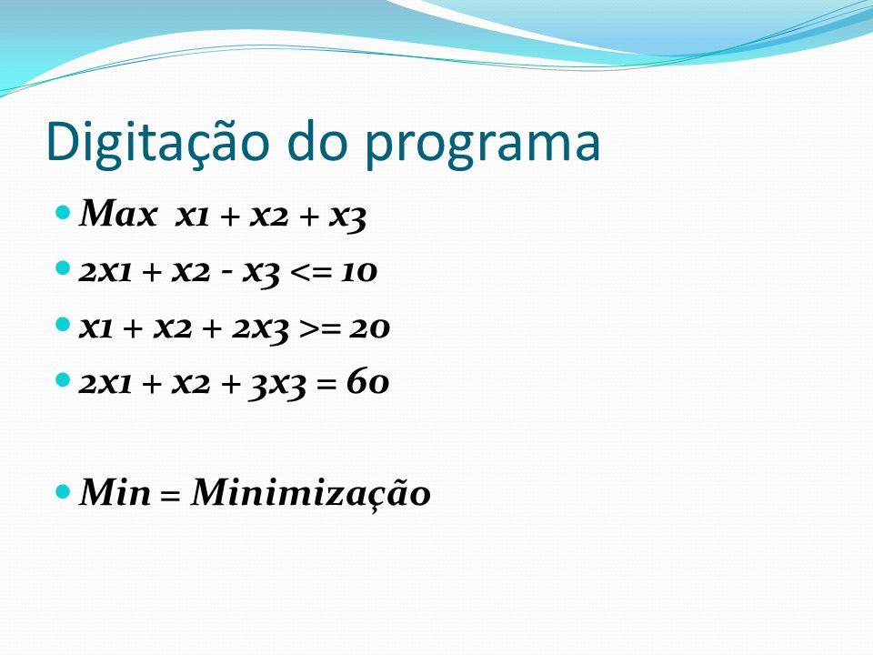 Quadro inicial do software ----- ITERAÇÃO 0 DA FASE I ******* SOLUÇÃO BÁSICA ******* F1 = 10 A2 = 20 A3 = 60 ##### W = -80 VARIÁVEIS : X1 X2 X3 F1 F2 A2 A3 F.OBJETIVO: -3 -2 -5 0 1 0 0 RESTR.