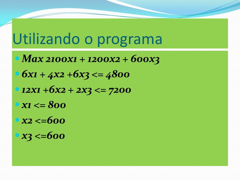 Solução Ótima ----- ITERAÇÃO 3 DA FASE II ******* SOLUÇÃO BÁSICA ******* X3 = 120 X1 = 280 F3 = 520 X2 = 600 F5 = 480 ##### Z = 13