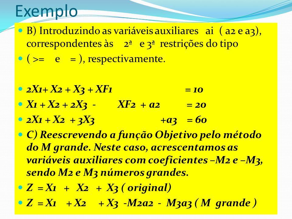 Método do M grande Z = X1 + X2 + X3 -M2a2 - M3a3 ( M grande ) O modelo passa a ser maximizado á medida que z cresce e por conseqüência as variáveis auxiliares A2 e a3 deixam a base.