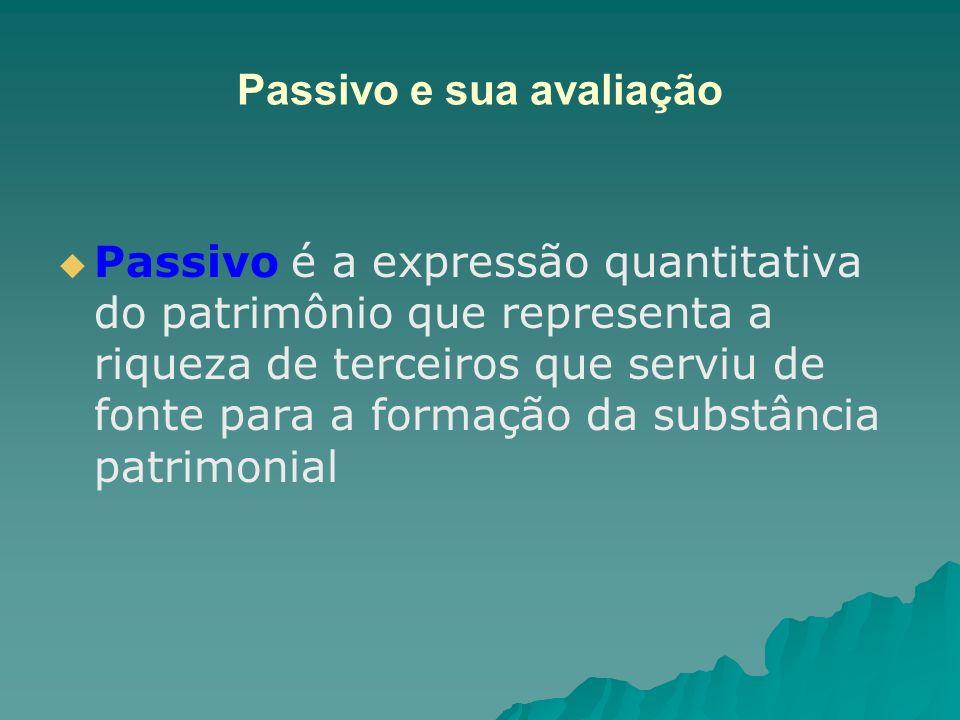 Passivo e sua avaliação Passivo é a expressão quantitativa do patrimônio que representa a riqueza de terceiros que serviu de fonte para a formação da