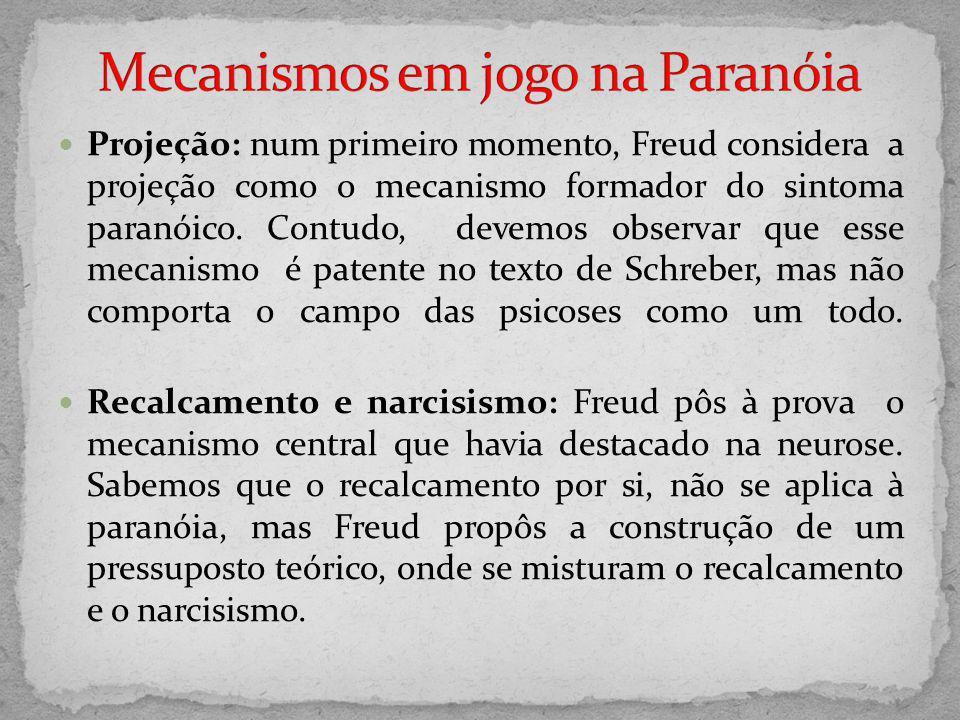 Projeção: num primeiro momento, Freud considera a projeção como o mecanismo formador do sintoma paranóico. Contudo, devemos observar que esse mecanism