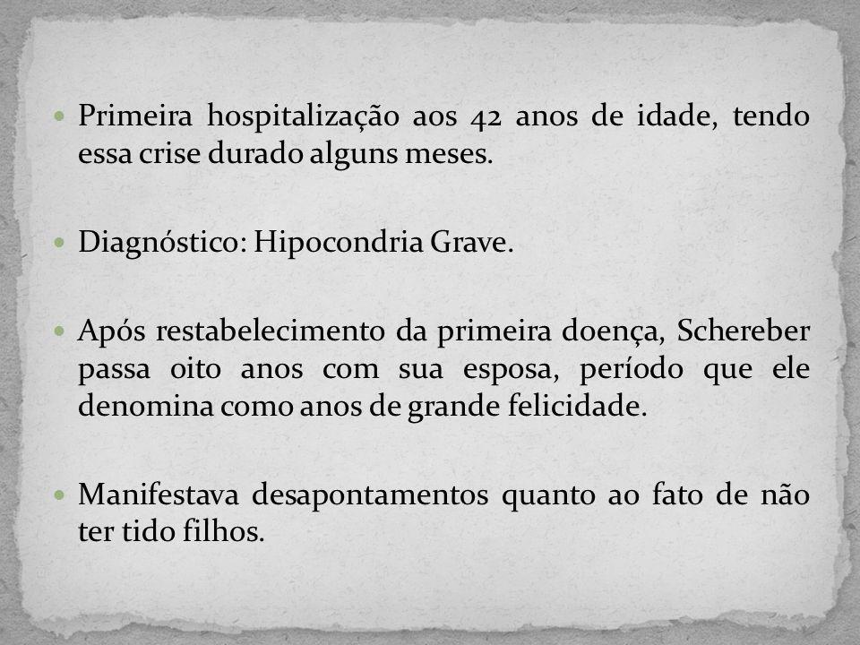 Primeira hospitalização aos 42 anos de idade, tendo essa crise durado alguns meses. Diagnóstico: Hipocondria Grave. Após restabelecimento da primeira