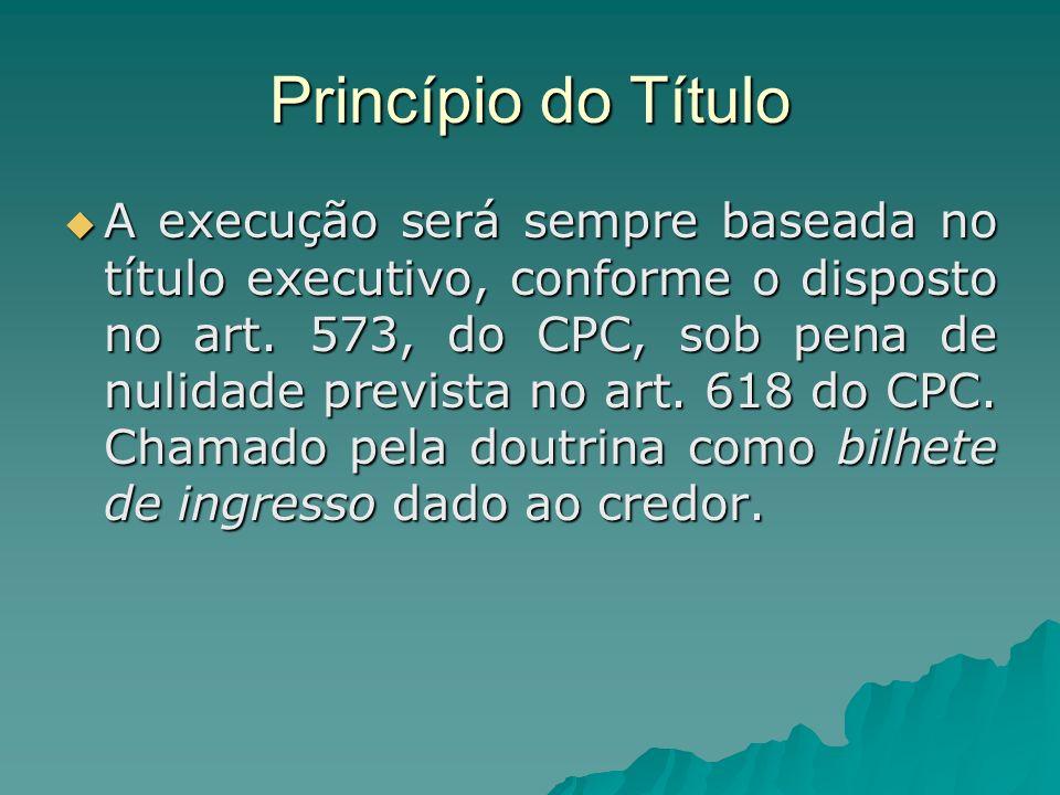 Princípio do Título A execução será sempre baseada no título executivo, conforme o disposto no art. 573, do CPC, sob pena de nulidade prevista no art.