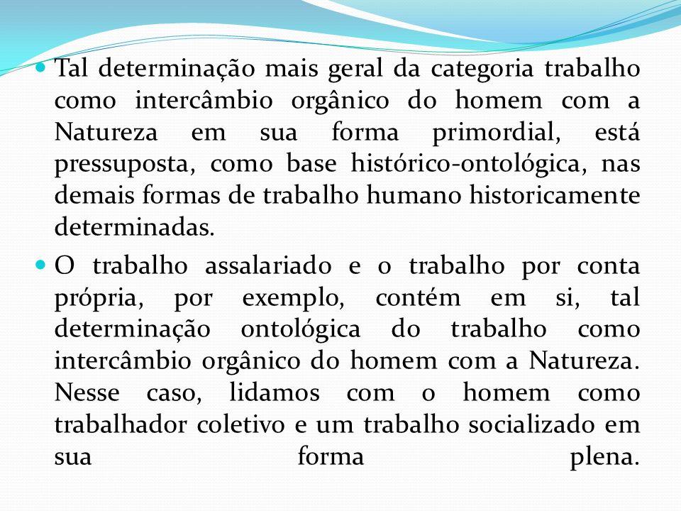Tal determinação mais geral da categoria trabalho como intercâmbio orgânico do homem com a Natureza em sua forma primordial, está pressuposta, como base histórico-ontológica, nas demais formas de trabalho humano historicamente determinadas.