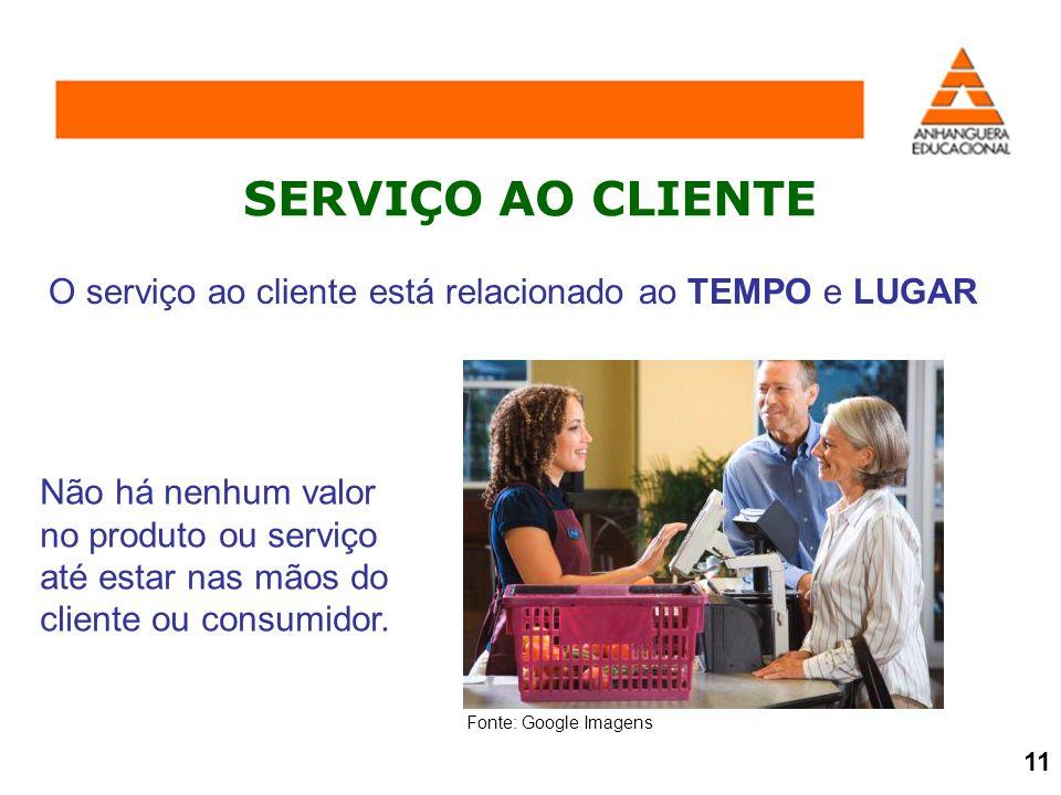 SERVIÇO AO CLIENTE O serviço ao cliente está relacionado ao TEMPO e LUGAR 11 Não há nenhum valor no produto ou serviço até estar nas mãos do cliente o
