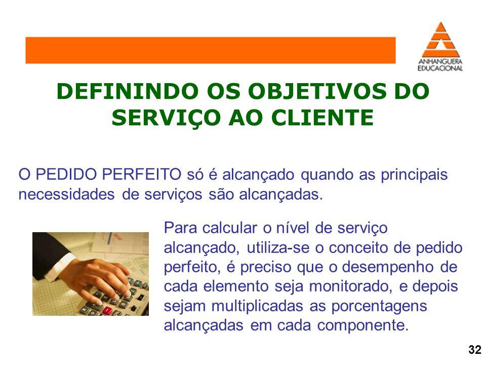 DEFININDO OS OBJETIVOS DO SERVIÇO AO CLIENTE O PEDIDO PERFEITO só é alcançado quando as principais necessidades de serviços são alcançadas. Para calcu