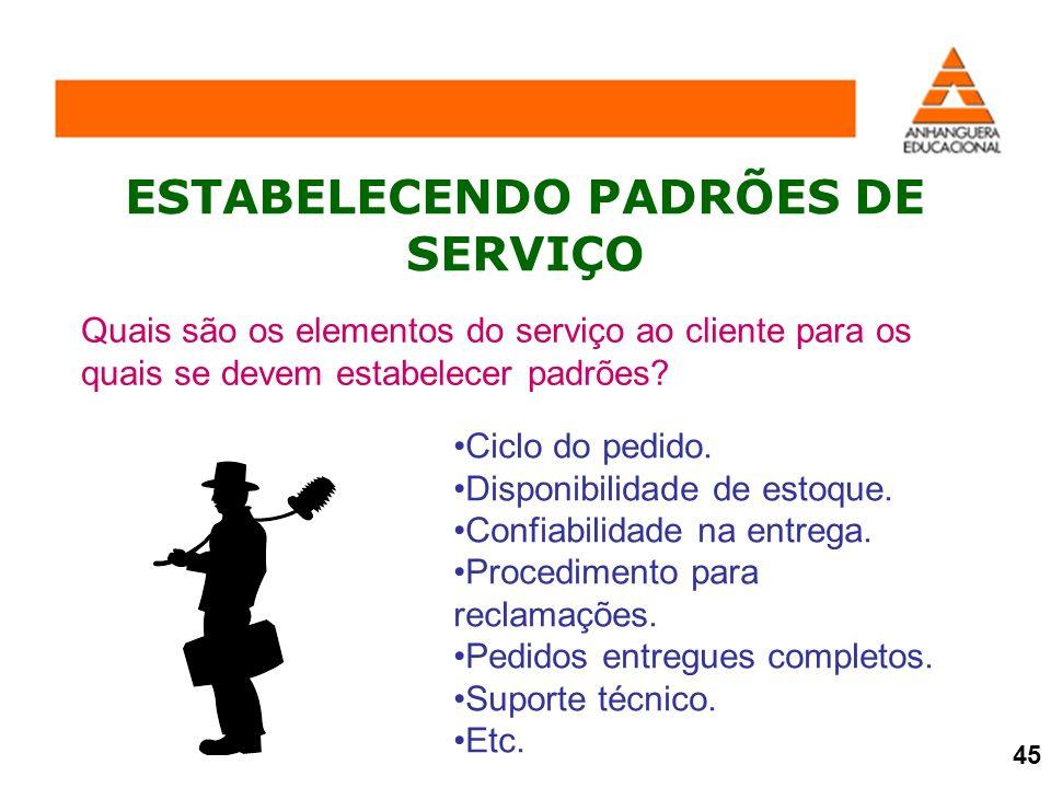 ESTABELECENDO PADRÕES DE SERVIÇO Quais são os elementos do serviço ao cliente para os quais se devem estabelecer padrões? Ciclo do pedido. Disponibili
