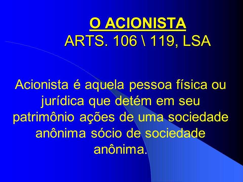O ACIONISTA ARTS. 106 \ 119, LSA Acionista é aquela pessoa física ou jurídica que detém em seu patrimônio ações de uma sociedade anônima sócio de soci